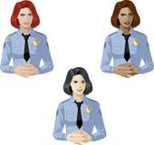 Mujer en persona de contacto del uniforme de la policía Fotografía de archivo libre de regalías