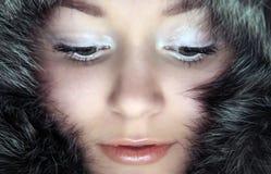 Mujer en piel Foto de archivo libre de regalías