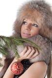Mujer en pieles Foto de archivo libre de regalías