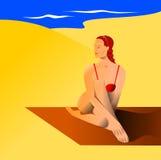 Mujer en playa Foto de archivo libre de regalías