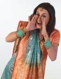 Mujer en postura de grito Fotografía de archivo