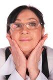 Mujer en primer de la cara de los vidrios Imagenes de archivo