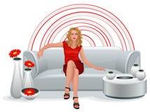 mujer en rojo Imagen de archivo