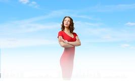 Mujer en rojo Foto de archivo libre de regalías