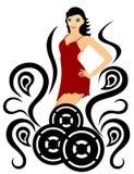 Mujer en rojo. Arte del baile ilustración del vector