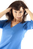 Mujer en ropa azul marino fotos de archivo