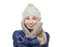 Mujer en ropa del invierno Imagen de archivo