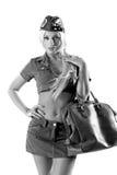 Mujer en ropa militar. aislado en b blanco Imagenes de archivo