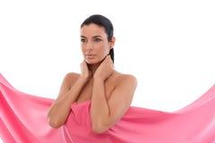 Mujer en rosa - cáncer de pecho Awereness fotos de archivo libres de regalías