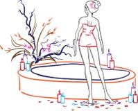 Mujer en salón del balneario libre illustration