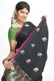 Mujer en sari con la expresión agradable Imagen de archivo
