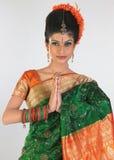 Mujer en seda-sari rica con la postura agradable Imagen de archivo