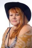Mujer en sombrero de vaquero Fotos de archivo