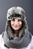 Mujer en sombrero del invierno Fotos de archivo