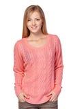 Mujer en suéter rosado Fotos de archivo libres de regalías