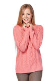 Mujer en suéter rosado Imagen de archivo