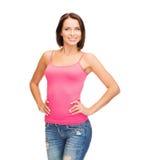 Mujer en top sin mangas rosado en blanco Imágenes de archivo libres de regalías