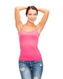 Mujer en top sin mangas rosado en blanco Fotografía de archivo