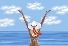 Mujer en traje de baño que disfruta de tiempo de verano y que mira el mar stock de ilustración