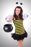 Mujer en traje de la abeja Foto de archivo libre de regalías