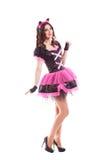 Mujer en traje del carnaval oídos del gatito Aislado Imágenes de archivo libres de regalías