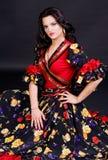 Mujer en traje del flamenco Imagenes de archivo