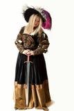 Mujer en traje del renacimiento con la espada Foto de archivo