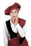 Mujer en traje escocés Imágenes de archivo libres de regalías