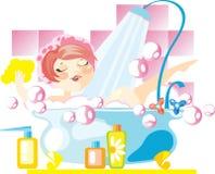 Mujer en un baño Imágenes de archivo libres de regalías