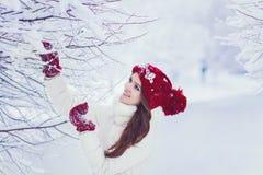Mujer en un bosque nevoso del invierno Fotografía de archivo