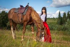 Mujer en un campo con un caballo Imagen de archivo libre de regalías