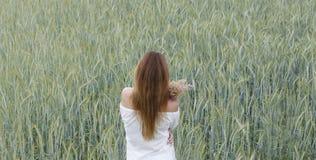 Mujer en un campo de trigo imagenes de archivo
