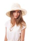 Mujer en un sombrero brimmed ancho imágenes de archivo libres de regalías