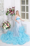 Mujer en un vestido azul largo Imagen de archivo libre de regalías