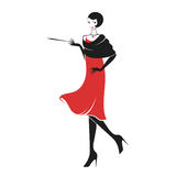 Mujer en un vestido 20 del ` s stock de ilustración
