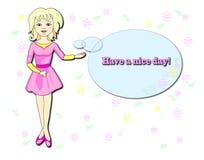 mujer en un vestido rosado en un fondo de flores Imagen de archivo libre de regalías