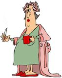 Mujer en una albornoz stock de ilustración