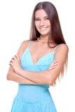 Mujer en una alineada azul Fotos de archivo libres de regalías