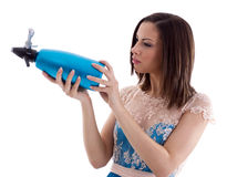 Mujer en una alineada azul fotografía de archivo