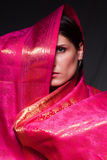 Mujer en una alineada de la sari Fotos de archivo libres de regalías