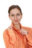 Mujer en una camisa con el lazo Imágenes de archivo libres de regalías
