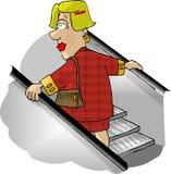 Mujer en una escalera móvil del almacén grande ilustración del vector
