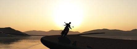 mujer en una moto ilustración del vector