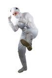 mujer en una pierna aumentada traje Fotos de archivo