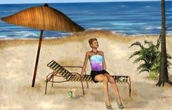 Mujer en una playa Foto de archivo libre de regalías