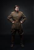Mujer en uniforme militar Imagenes de archivo