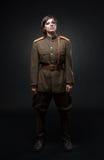 Mujer en uniforme militar Fotos de archivo