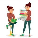 Mujer en vector del círculo de lectores Pila grande que lleva de libros Estudiar al estudiante Biblioteca, Academic, escuela, uni Imagenes de archivo