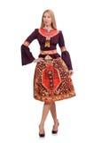 Mujer en vestido con las impresiones de oriental aisladas encendido Fotografía de archivo