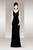 Mujer en vestido de noche negro largo Imágenes de archivo libres de regalías